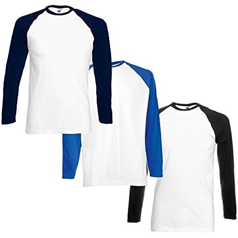 T-shirt stile Baseball da uomo (Pacco da 3) FM® 100%