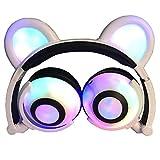 Auriculares Glowing Bear Ear Earphones Led Ear Headphone Cat Earphone Flashing Glowing Headset Auriculares para Juegos para Adultos Y Niños Blanco