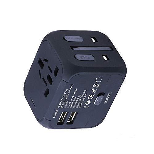 Cube Plug Universal-USB-Reiseadapter Adapter für Reisen Ladegeräte-Adapter für UK/EU/US/AU, geeignet für über 150Länder, mit Dual-USB-Anschluss und Sicherheits und Schutzsicherung (schwarz)