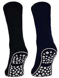 Damen & Herren ABS Socken Anti Rutsch Socken Stoppersocken Noppensocken - 44441 (Schwarz/Blau/Grau 43-46, 2 Paar)