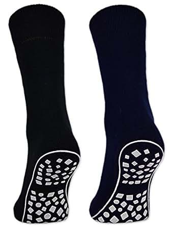 Damen & Herren ABS Socken Anti Rutsch Socken Stoppersocken Noppensocken - 44441 (43-46, 2 Paar: Schwarz/Blau/Grau)