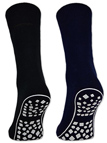 Damen & Herren ABS Socken Anti Rutsch Socken Stoppersocken Noppensocken - 44441 (Schwarz/Blau/Grau 39-42, 2 Paar)