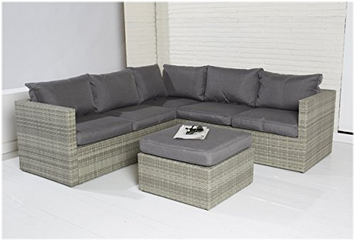 POLY RATTAN Sitzgruppe Sofa Lounge Set grau