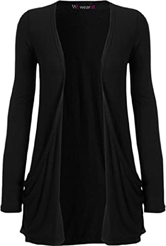 Ladies Long Sleeve Boyfriend Cardigan Womens Top - Black -