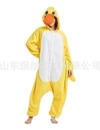 SALICEHB Kleine Gelbe Ente-Heißer Fleece-Karikatur-Einteiliger Pyjamas-Tierkostüm