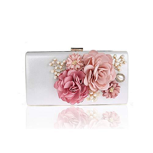 ZYXB Womens Vintage Style Rosen Perlen und Pailletten Blumen Design Satin und Seide Frauen Hochzeit Brial Clutch Bag/Abend Handtasche,Weiß - Blume Perlen Satin Clutch