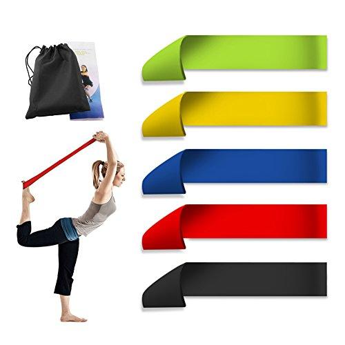 Fitnessbänder Set 5, Supband Gymnastikbänder Loops für Yoga, Pilates, Reha-Sport Physio-Gymnastik ? Für Männer & Frauen ? Hergestellt aus natürlichem Latex-Resistance Band / Widerstandsband in verschi