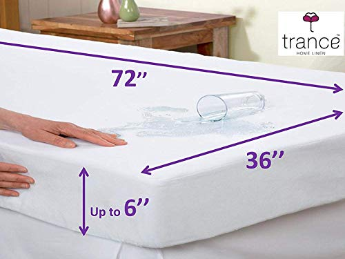 Trance Home Linen Cotton Waterproof and Dustproof Single Bed Mattress Protector(72x36-inch, White)