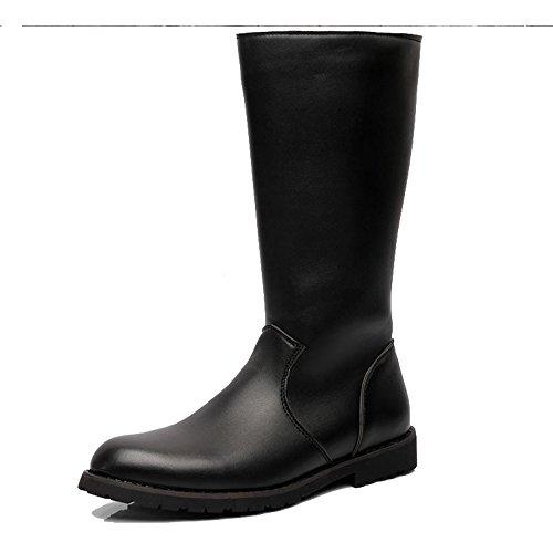 Best Choise Herren Schuhe Glattleder Oberseitenreißverschluss Mid Calf Combat Boots für Herren Draussen ( Color : Black , Size : 44 EU ) (Herren Mid Boots Calf)