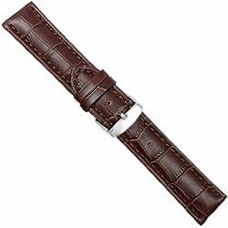 "Uhrbanddealer 26mm Ersatzband Uhrenarmband ""Louisiana Chrono"" Alligator Print Kalb Leder Band Braun 646826s"