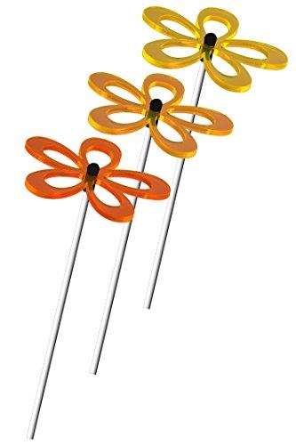A123 3er Set Sonnenfänger Suncatcher Blumen FLORA LEUCHT-Zitronengelb-Gelb-Orange (Hellgelb-Sonnengelb-Dunkelorange) je 8cm inkl. Acrylstäbe je 24cm. DAS ORIGINAL von Lumi-Flowers ®