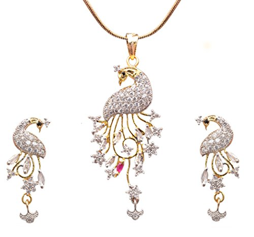 Sitashi Peacock Design 18 K Gold Plated Ad American Diamond Imitation/Fashion Jewelry Pendant Set for Girls and Women