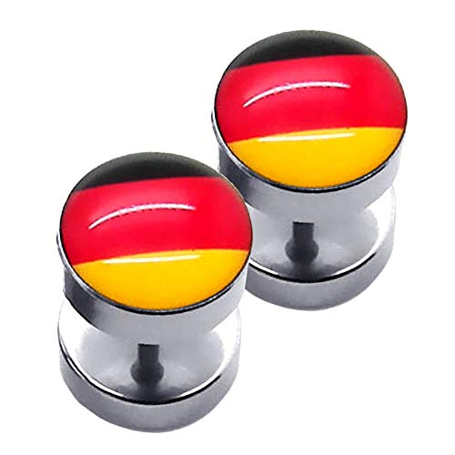 1 Paar Fakeplugs Piercingschmuck Ohrstecker Tunnel Fanartikel Deutschland Fussball WM EM Ohrschmuck