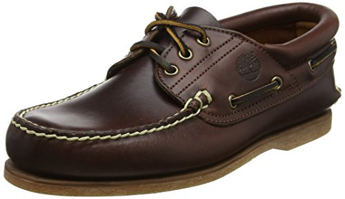 Timberland Classic Boat FTM 3 Eye Padded Collar 76015, Scarpe basse uomo, Marrone (Braun/Brown Smooth), 44