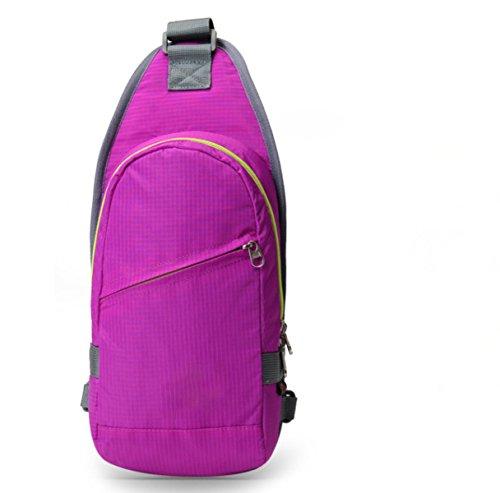 BULAGE Bag Brusttasche Outdoor Sport Schulter Männer Und Frauen Messenger Reiten Rucksack Freizeit Reisen Reisen Mode Wasserdicht Purple
