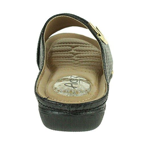Femmes Dames Point de pression Doux Flexible Massage Été Poids léger Glisser sur Talon compensé Des sandales Chaussures Taille Noir