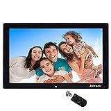 Digitaler Bilderrahmen, Elektronischer Fotorahmen 17 Zoll Full HD 1080P Display 1440 * 900 mit Kalender/Alarm/Foto/Musik/Video Player/Auto on/Off Timer mit Fernbedienung, Schwarz