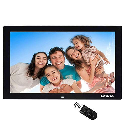 Digitaler Bilderrahmen, Elektronischer Fotorahmen 17 Zoll Full HD 1080P Display 1440 * 900 mit Kalender/Alarm/Foto/Musik/Video Player/Auto on/Off Timer mit Fernbedienung, Schwarz -