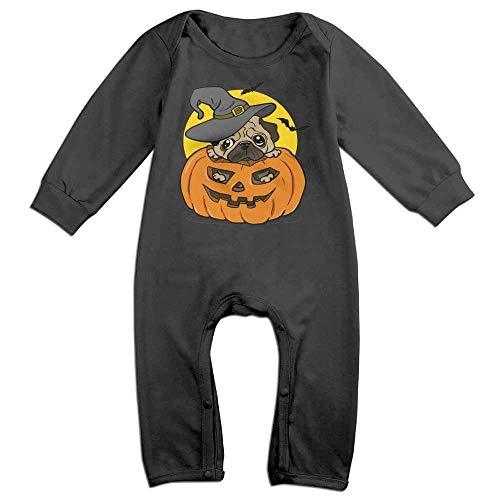 SDGSS Babybekleidung Witch Pug Halloween Pumpkin Moon Cute Unisex Long Sleeve Baby Bodysuit One-Piece
