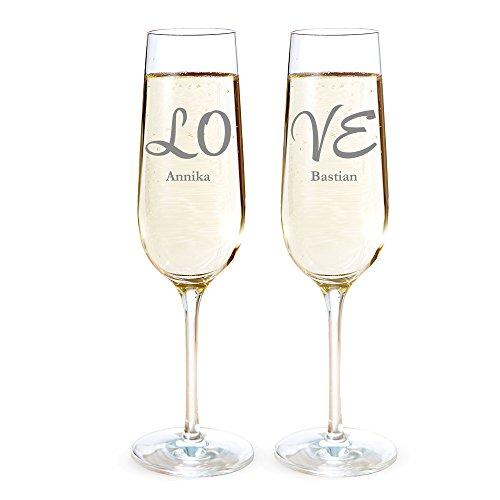 Lot de 2 verres champagne personnalisés - Motif Love - verres élégantes avec gravure individuel - Flûte à champagne - Cadeaux de mariage - cadeaux Saint Valentin - Cadeaux de fiançailles