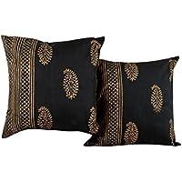 Trendy Nero Set di 2 Cuscino Soft Cover 16 da 16 Paisley mano blocco stampato federe Home Decor Polydupion tiro cuscino da Rajrang