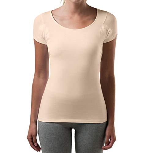 Thompson Tee - Anti-Schweiß Kurzarm-Unterhemd mit Achselschweiß-Polstern - enge Passform - U-Ausschnitt - Beige - L (Beständig Unterhemd)