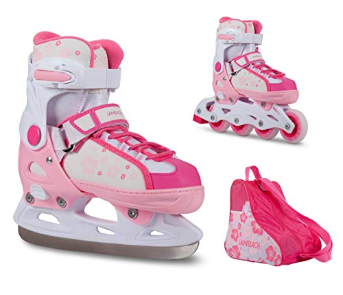JAMBACH Inliner und Schlittschuhe 2 in 1 verstellbare Inline Skates und Ice Skates in pink rosa für Mädchen (S (33-36), rosa)