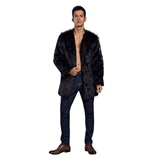 Kanpola Herren Winter Oberbekleidung Mantel Warm Faux Pelz Mantel Jacke Faux Pelz (XXL, Schwarz)