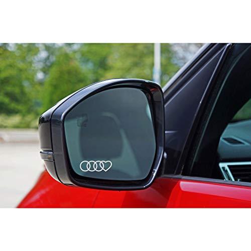 Autodomy Confezione Adesivi Audi Anelli Cuore 6 Pezzi in Vinile per specchietti Auto