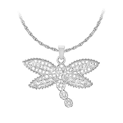 Tuscany Silver Sterling Silver Cubic Zirconia Dragonfly Pendant on Prince
