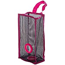 OUNONA Dispensador de bolsas de basura de malla colgante Organizador plegable Bolsas de basura Titular Bolsa de supermercado Recipientes de reciclaje Almacenamiento de la cocina - Talla S (Rosa roja)
