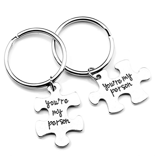JOVIVI 2pc You Are My Person Puzzle Keychain Jewelry Set - Valentines Day Best Friend Gift