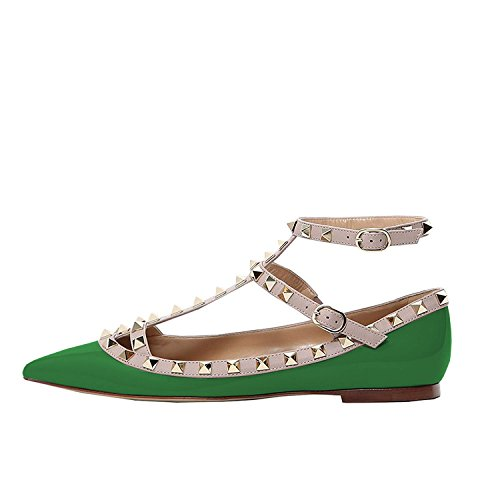 Lutalica Damenmode Spitznieten Nieten Casual Komfort Ballerinas Riemchen Flache Schuhe Patent Grün Größe 42 (Red Schuhe Patent Leder-ballerina-flache)