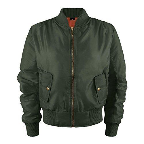 Kinder Mädchen Jungen Kinder Bomber MA1 Stil Jacke Piloten Biker Taschen Mantel Jahre - Khaki, 92-98