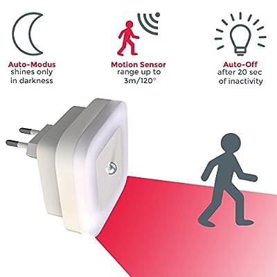 LED Schlummerlicht   Nachtlicht mit Bewegungsmelder   2-er Set   Steckdosenlicht   weiß
