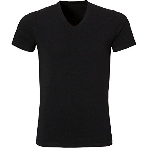 Ten Cate Herren Unterhemd 1/2 Arm V-Shirt LUXURY COTTON (3486) Schwarz