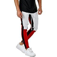 Idea Regalo - Beikoard Completi Fitness Pantaloni Sportivi da Jogging Allentati Sportivi da Jogging Pantaloni Sportivi da Uomo alla Moda con Coulisse(White,L)