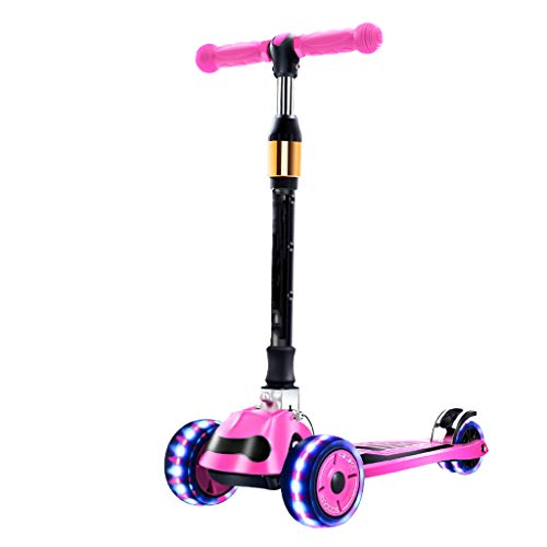 Monopattino Bicicletta Equilibrio Scooter Bambini 2-3-6-14 Anni Bambino Flash Wheel Scooter Pieghevole per Bambini LCSHAN (Color : Pink, Size : with Flash Wheel)