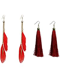 Nawab Boho Gypsy Feather Tassel And Eanmel Earring For Girls And Women (pack Of 2 Pair)- RED AND MAROON