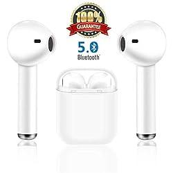 Auriculares inalámbricos Bluetooth,V5.0 Auriculares Inalámbricos Deportivos con Caja de Carga, Auriculares inalámbricos en la Oreja para iPhone de Apple y teléfonos Samsung y Android