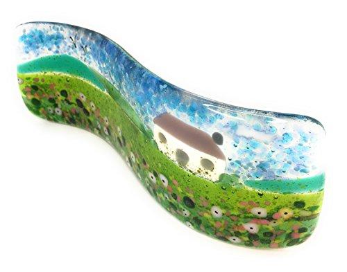 The Glass Garden Fleurs Sauvages Cottage sur Pied en Verre Fusionné Wave Sculpture Lumière Catcher – Fait à la Main en East Sussex – Emballage Cadeau Gratuit Inclus