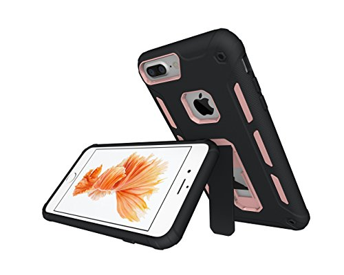 iPhone 7 Plus Tablet, iPhone 7 Plus Case, lontect Drop per Dual Layer armatura antiurto Hybrid Case con Kickstand per Apple iPhone 7 Plus Rose Gold