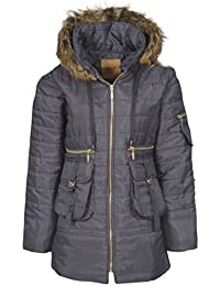 Womens Ladies Quilted Puffer Puffa Jacket Coat Parka Padded Fur Hood Winter Warm [Grey Charcoal, UK L]
