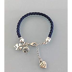 Navy Blue Woven Silk Parfüm Armband mit Clover, Damen Schmuck Geschenk, Damen Armband, Clover Schmuck, Geburtstagsgeschenk Idee