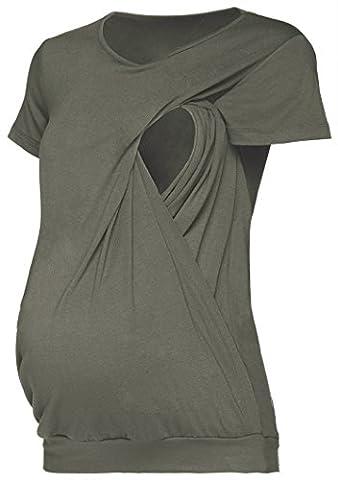 Happy Mama. Damen Umstandsmoden Top Still T-shirt Lagendesign Kurze Ärmeln. 436p (Khaki, EU 42/44, XL)