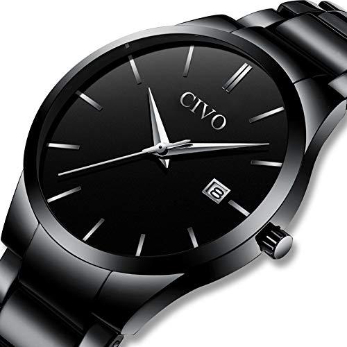 b022cab586d6 CIVO Relojes Hombre con Lujo Correa de Acero Inoxidable Negro Fecha ...