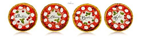 Edelweiss Pizza Teller Set 4 Teile aus handbemalter Keramik personalisierbar mit Ihren Namen