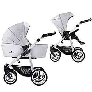 Venicci Pure 2-in-1 Travel System - Stone Grey - with Carrycot + Changing Bag + Apron + Raincover + Mosquito Net + 5-Point Harness and UV 50+ Fabric + Cup Holder   1