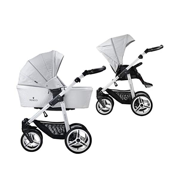 Venicci Pure 2-in-1 Travel System - Stone Grey - with Carrycot + Changing Bag + Apron + Raincover + Mosquito Net + 5-Point Harness and UV 50+ Fabric + Cup Holder  2-in-1 Pram and Pushchair with custom travel options Suitable for your baby from birth until approximately 36 months 5-point harness to enhance the safety of your child 1
