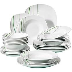 VEWEET Aviva Juegos de Vajillas 24 Piezas de Porcelana con 6 Cuencos de Cereales, 6 Platos, 6 Platos de Postre y 6 Platos Hondos para 6 Personas